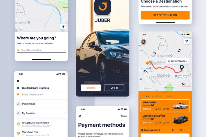 Thumbnail for Car rental mobile UI Kit concept for iPhoneX