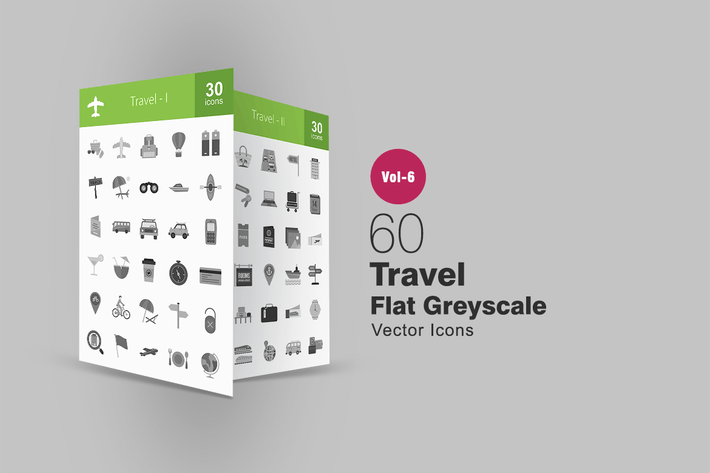 Thumbnail for 60 Travel Flat Greyscale Icons