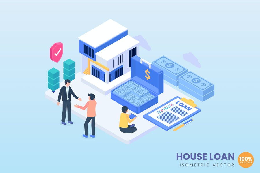 Isometric House Loan Concept