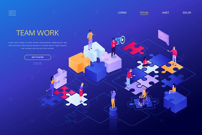 Thumbnail for Team work - colorful isometric web banner