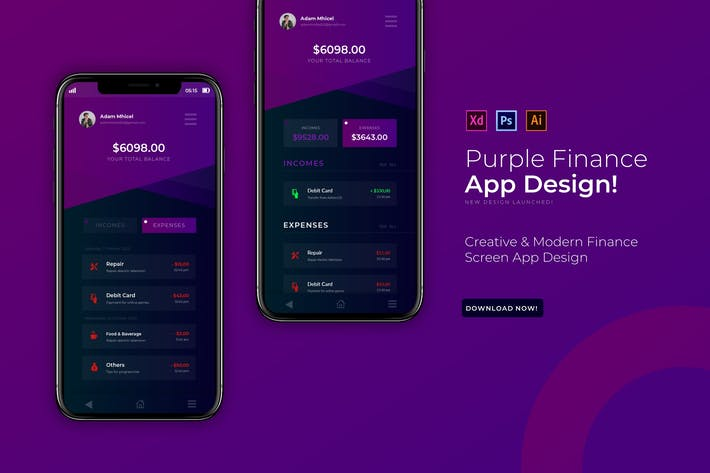 Thumbnail for Purple Finance | Modèle d'Appli