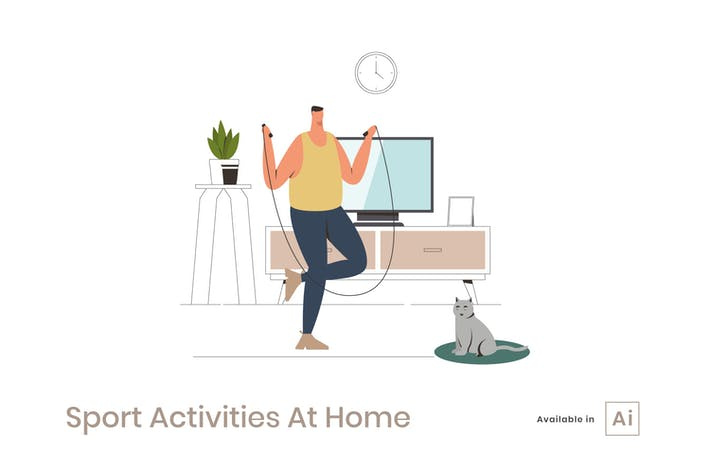 Thumbnail for Sport Activities At Home Illustration