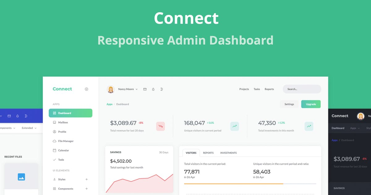 Download Connect - Responsive Admin Dashboard Template by stacks