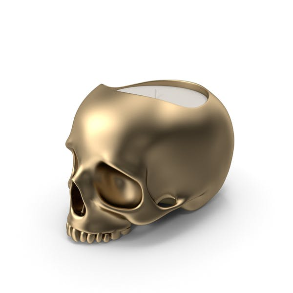 Gold Skull Head Candle