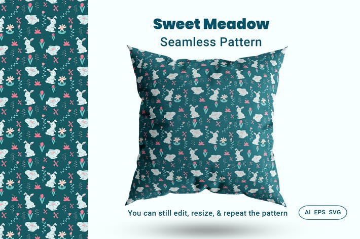 Cover Image For Seamless Pattern Sweet Meadow
