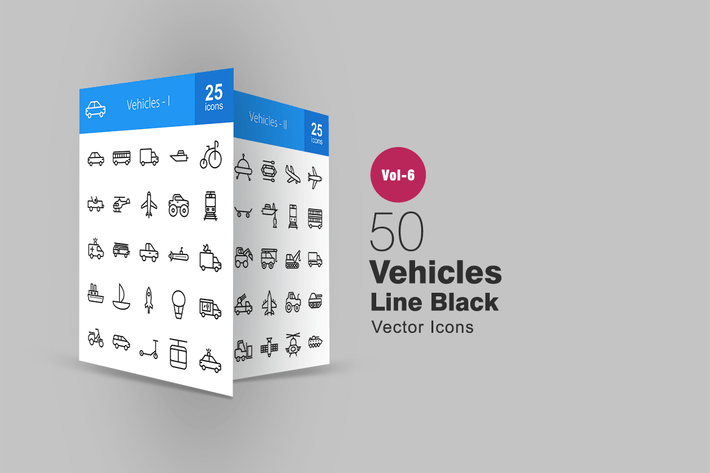 Thumbnail for 50 Vehicles Line Icons