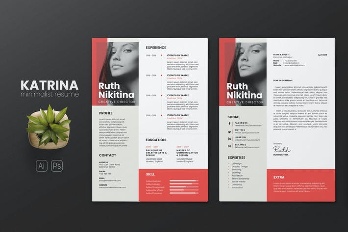 Thumbnail for Clean Minimalist CV Resume AI and PSD Flyer Vol.08