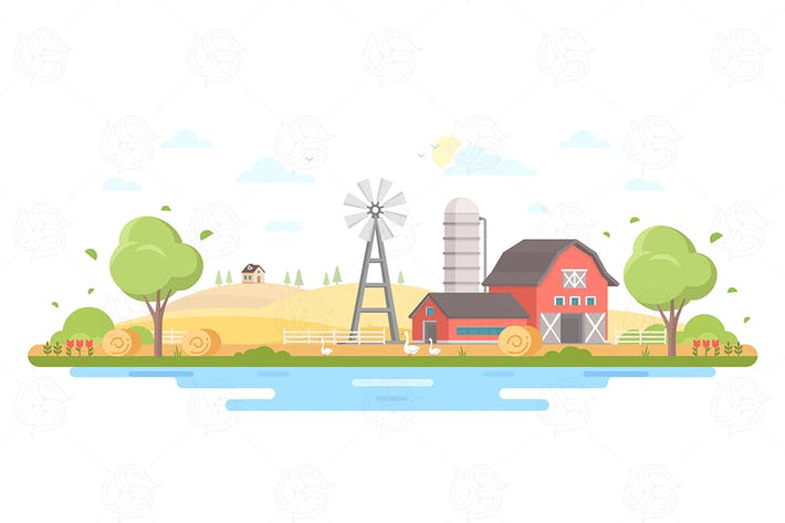 Thumbnail for Country life - flat design vector illustration