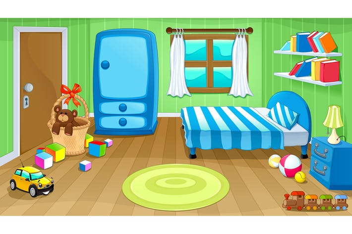 Thumbnail for Funny bedroom with toys. Vector illustration