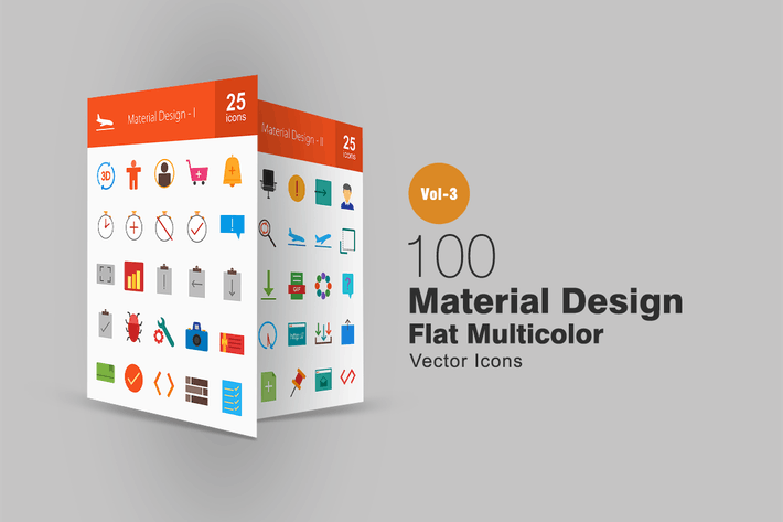 100 Material-Design Flache Multicolor Icons