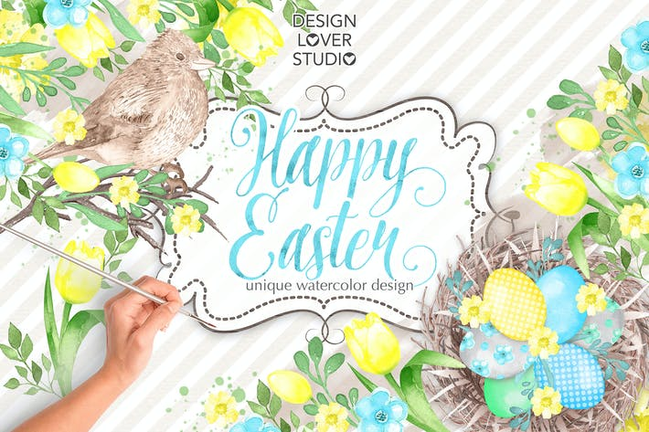 Thumbnail for Watercolor HAPPY EASTER Yellow design