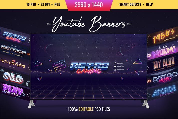 Thumbnail for 80s Retro - Youtube Channel Art