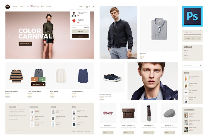 Thumbnail for Grotte - eCommerce Shop PSD Template