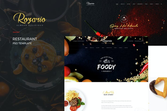 Thumbnail for Rozario - Restaurant PSD Template