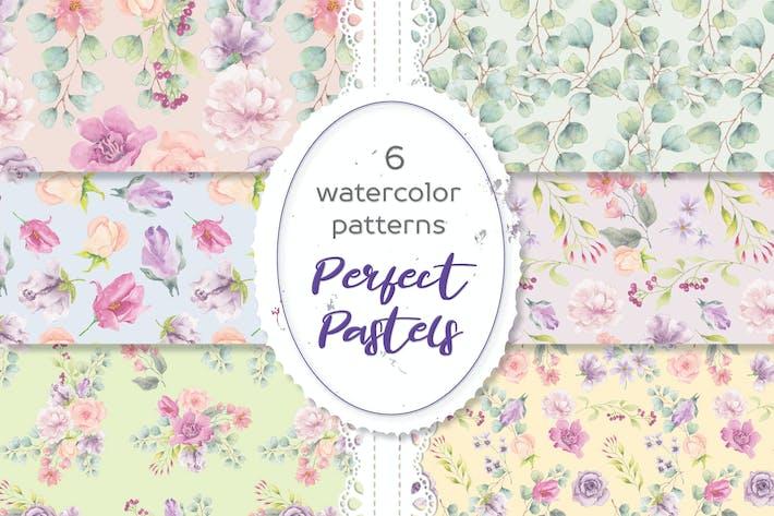 Perfekte Pastell-Aquarell-Blumenmuster