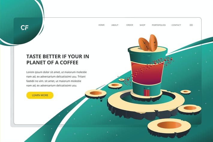 Thumbnail for Planet Coffee - Web Header Template