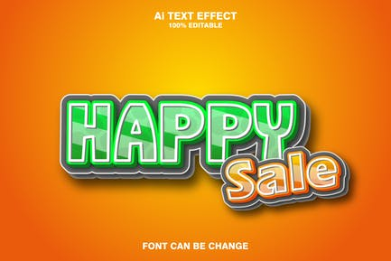 happy sale 3d text effect