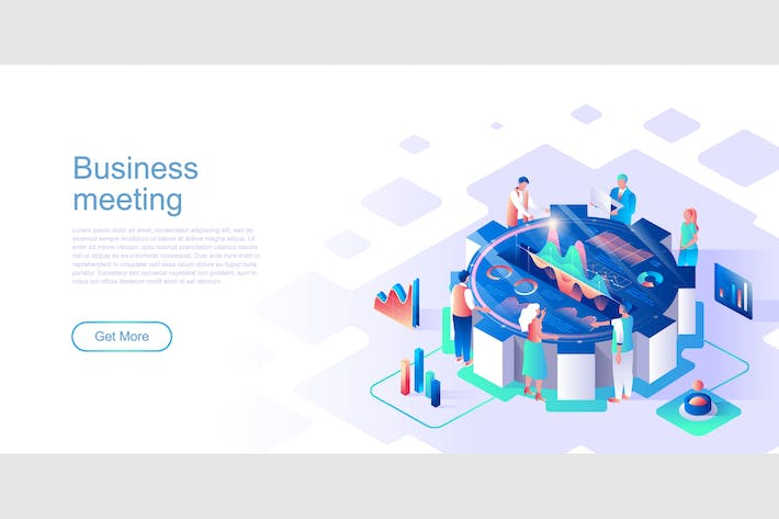Thumbnail for Business Meeting Isometric Flat Concept Header