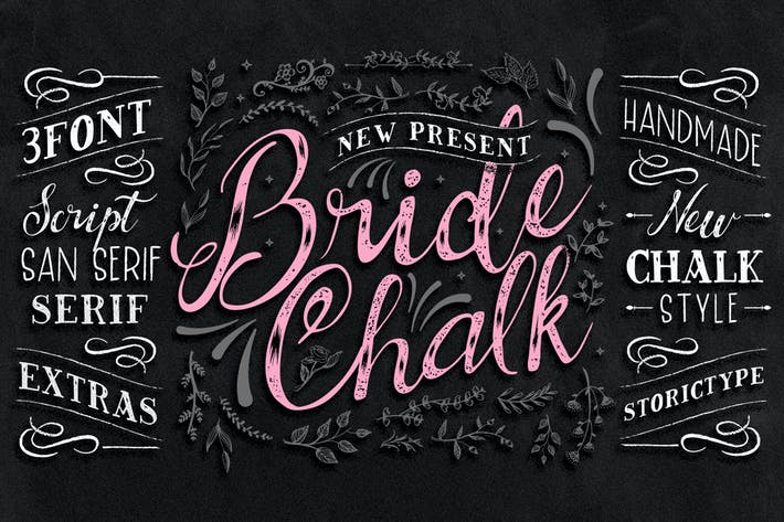Thumbnail for BrideChalk Typeface ( 3 FONT + EXTRAS)