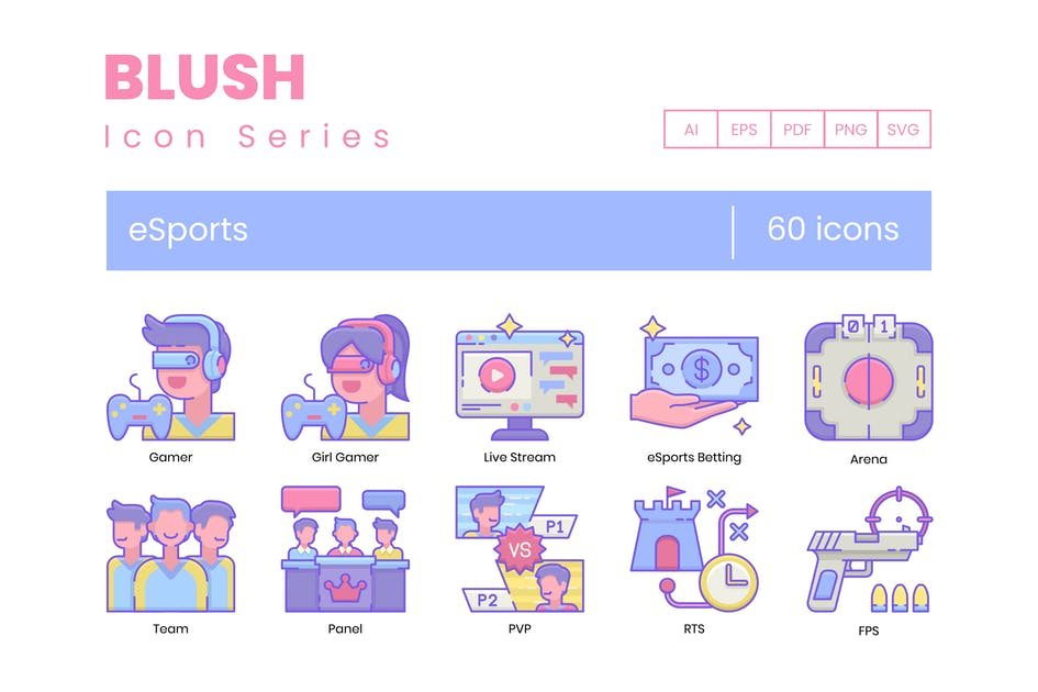 Download 60 Gaming & Esports Icons | Blush Series by Krafted
