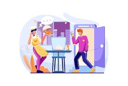 Food Delivery Service Illustration Concept