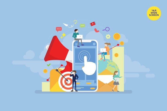 Thumbnail for Mobile Marketing Vector Illustration Concept