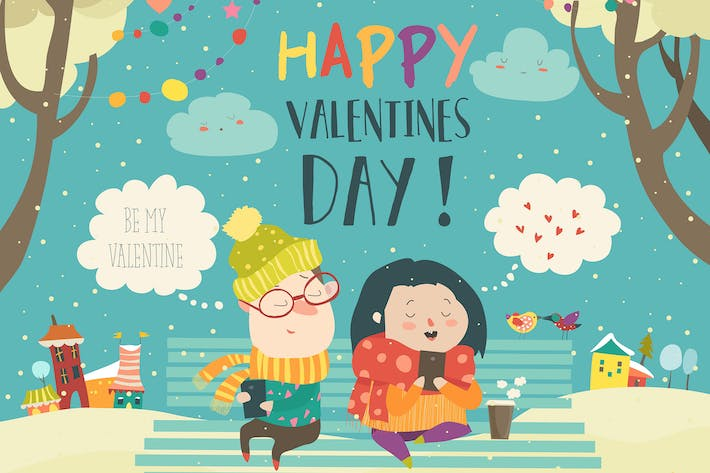 Cover Image For Young couple sending love messages using cellphone