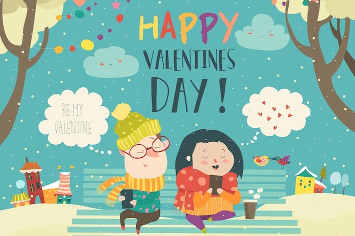 Thumbnail for Junges Paar senden Liebe Nachrichten mit Handy