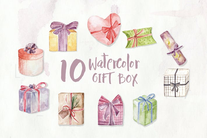 Thumbnail for 10 Watercolor Gift Box Illustration Graphics