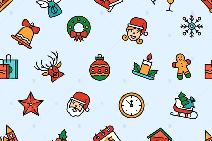 Thumbnail for Christmas linear symbols seamless pattern