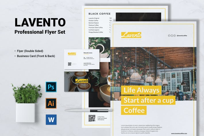 Thumbnail for LAVENTO Coffee Shop Flyer & Business Card