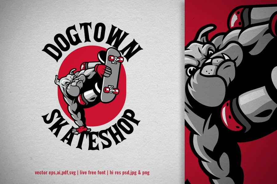 bulldog skateboard vintage logo