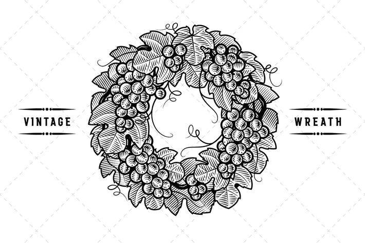Thumbnail for Retro Grapes Wreath Black And White