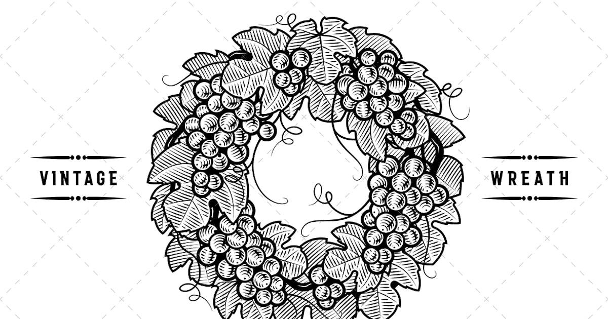 Download Retro Grapes Wreath Black And White by iatsun