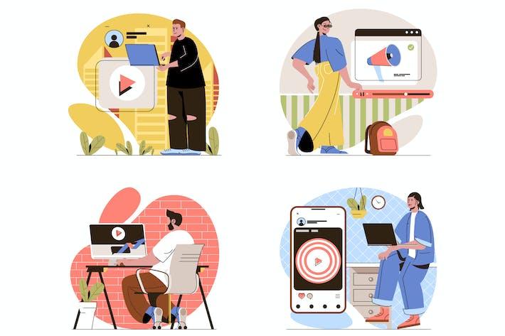 Videomarketing flacher Abbildungen Set