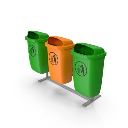 Outdoor Triple Plastic Trash Cans