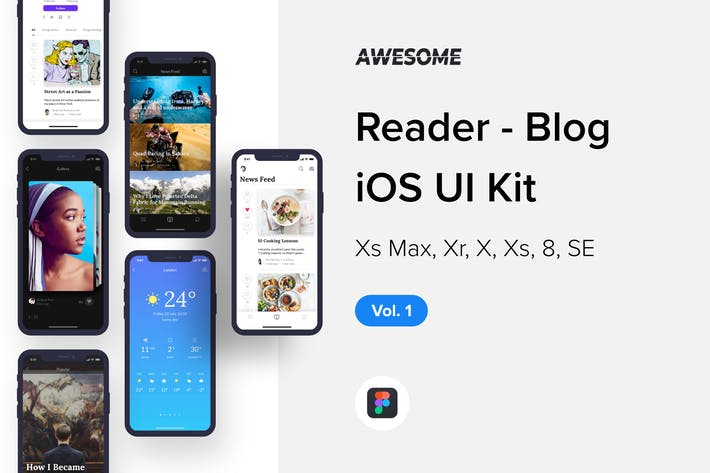 Thumbnail for Awesome iOS UI Kit - Reader Blog Vol. 1 (Figma)