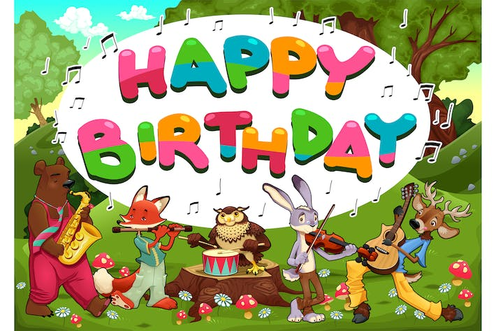 Thumbnail for Happy Birthday Card with Funny Musician Animals