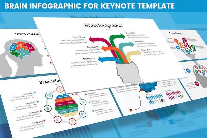 Thumbnail for Brain Infographic for Keynote Template