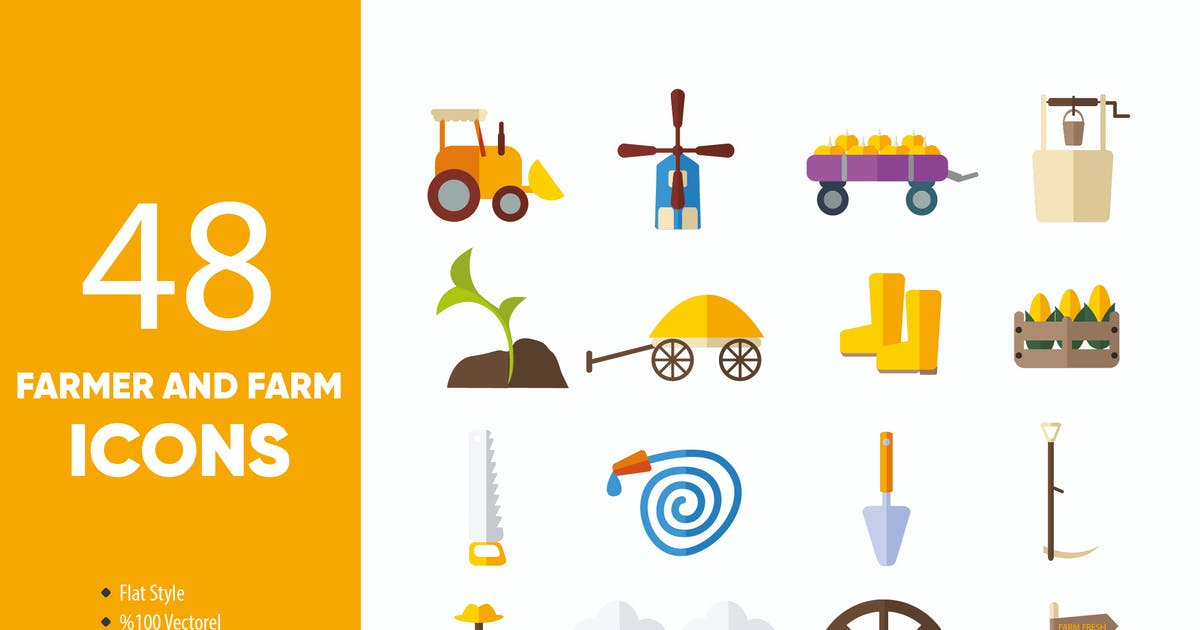 Download Farmer and Farm Icons Set by M0DE0N