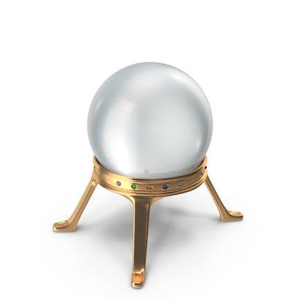 Kristallkugel in einem goldenen Halter mit gemischten Stems