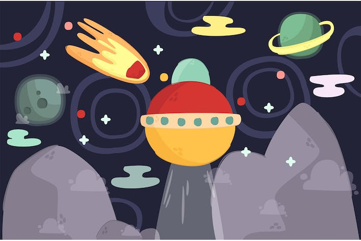 Thumbnail for Cartoon Space Illustration Background