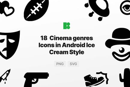 Cinema genres Icons in Android Ice Cream Style
