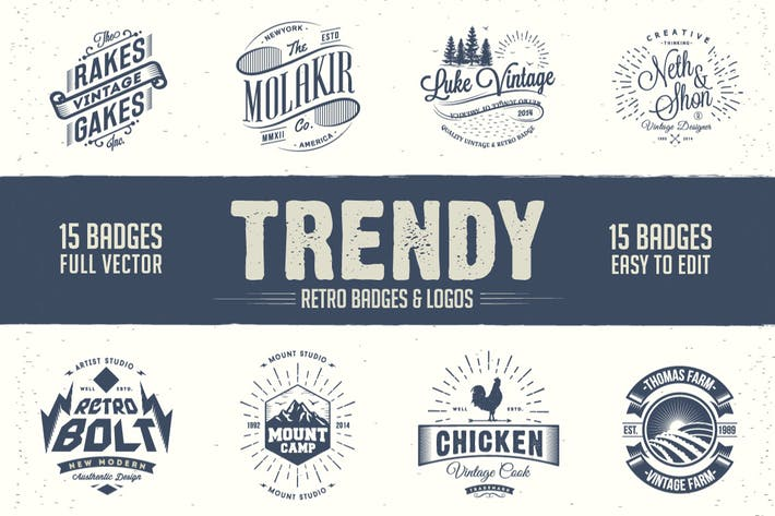 Cover Image For Trendy Retro Badges and Logos