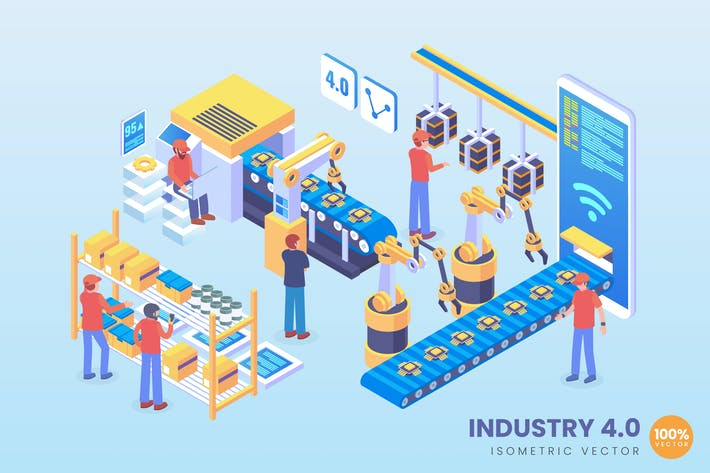 Thumbnail for Isometric industry 4.0 Vector Concept 2