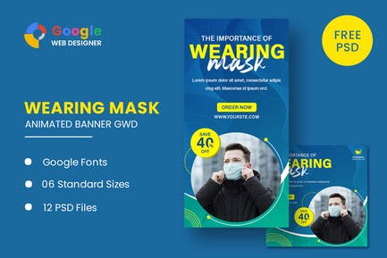 Wearing Mask Animated Banner GWD