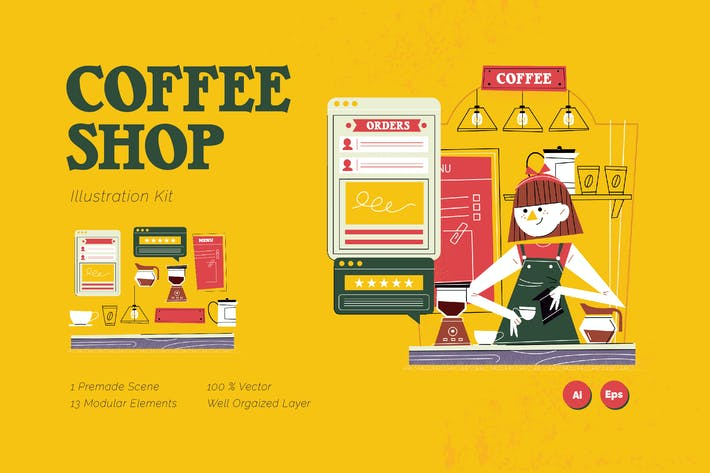 Thumbnail for Coffee Shop Graphic Illustration