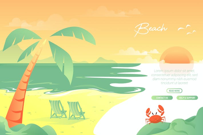 Cover Image For Beach - Vector Landscape & building