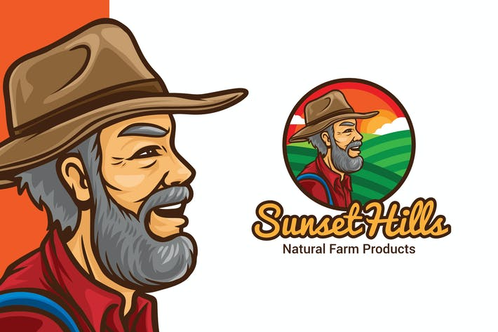 Thumbnail for Sunset Hill Farmer Logo Maskottchen Vorlage