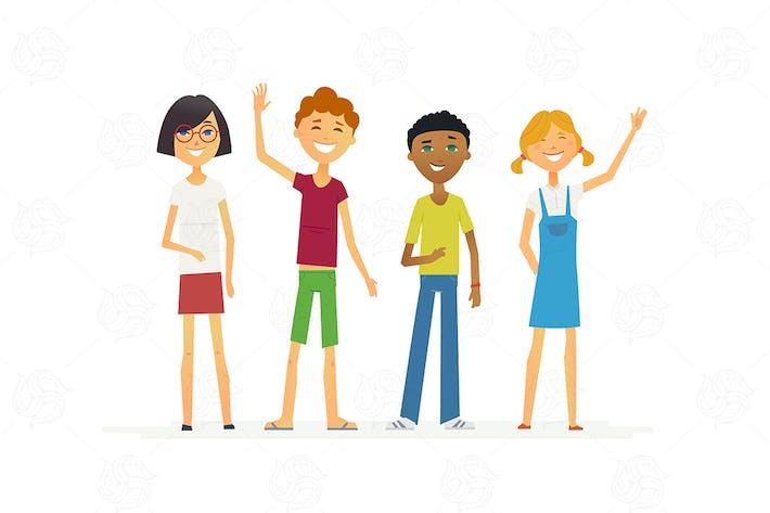 Thumbnail for Happy children - vector illustration
